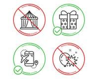 Назначение полета, шатер цирка и значки подарочной коробки набор Знак дротика воздушного шара r иллюстрация вектора