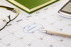 Назначение собеседования для приема на работу на план-графике стоковая фотография rf