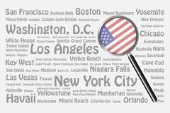 Назначения перемещения концепции США Стоковые Фотографии RF