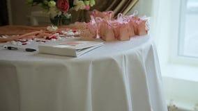Назначения таблицы свадьбы сток-видео