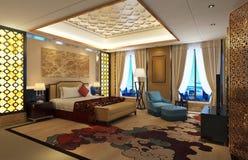 назначенные красивейше постельные принадлежности точная комната интерьера гостиницы Стоковое Изображение