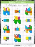 Найдите головоломка математики взгляд сверху визуальная с buiding блоками бесплатная иллюстрация