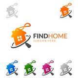 Найдите домой, дизайн логотипа вектора недвижимости с уникально домом Стоковая Фотография RF