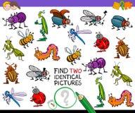 Найдите игра 2 идентичная насекомых шаржа для детей Стоковые Изображения RF
