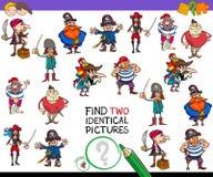 Найдите игра 2 идентичная пиратов шаржа для детей Стоковые Фотографии RF