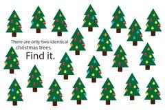 Найдите 2 идентичных рождественской елки, игра для детей, preschool деятельность при для детей, задача головоломки образования по иллюстрация штока