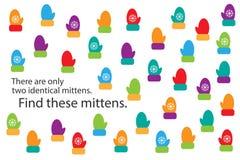 Найдите 2 идентичных mittens, игра для детей, preschool деятельность при для детей, задача головоломки образования потехи рождест иллюстрация штока