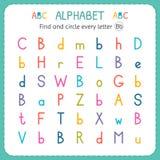 Найдите и объезжайте каждое письмо b Рабочее лист для детского сада и preschool Тренировки для детей Стоковые Фото