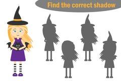 Найдите правильная тень, игра для детей, ведьма хеллоуина шаржа, игра для детей, деятельность при образования рабочего листа pres иллюстрация штока