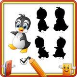 Найдите правильная тень Пингвин младенца шаржа счастливый Игра образования для детей бесплатная иллюстрация