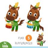 Найдите разницы, игра для детей, барабанщик лошади иллюстрация вектора