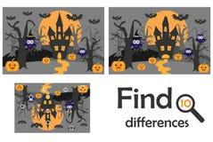 Найдите 10 разниц, игра для детей, хеллоуин в стиле шаржа, игре для детей, деятельности при образования рабочего листа preschool, иллюстрация вектора