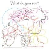 Найдите спрятанные объекты на изображении, листья темы осени, зонтик, еж, гриб, жолудь, комплект контура мешанины, educatio потех иллюстрация вектора