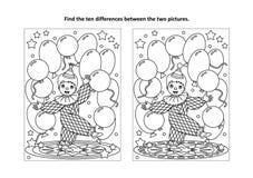 Найдите страница головоломки и расцветки разниц визуальная с маленьким клоуном Стоковая Фотография RF