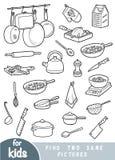 Найдите 2 такие же изображения, игра для детей Комплект объектов кухни иллюстрация штока