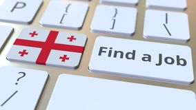 Найдите текст работы и флаг Грузии на кнопках на клавиатуре компьютера 3D анимация занятости родственная схематическая бесплатная иллюстрация