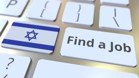 НАЙДИТЕ текст РАБОТЫ и флаг Израиля на кнопках на клавиатуре компьютера 3D анимация занятости родственная схематическая иллюстрация вектора