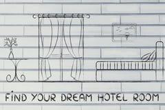 Найдите ваша мечт гостиница, дизайн интерьера комнаты Стоковые Фото