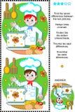 Найдите головоломка разниц визуальная - молодой шеф-повар Стоковое фото RF