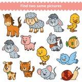 Найдите 2 идентичных изображения, игра образования, комплект животноводческих ферм иллюстрация вектора