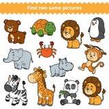 Найдите 2 идентичных изображения, игра образования, комплект животных зоопарка иллюстрация вектора