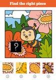 Найдите правая часть, игра для детей Пчела Стоковая Фотография RF