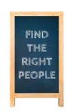 Найдите правое текстовое сообщение людей на деревянной доске рамки Стоковое Фото