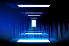 Накаляет световой эффект идти в освещая дверь иллюстрация штока