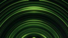 Накалять, дуговидный, линии зеленых линий мерцающие бесконечно Безшовная, loopable анимация абстрактных нашивок света радуги иллюстрация вектора