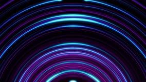 Накаляющ, дуговидные, пурпурные линии линии мерцающие бесконечно Безшовная, loopable анимация абстрактного света радуги иллюстрация штока