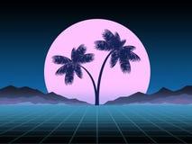Накаляющ шаблон неоновых, synthwave и retrowave предпосылки Ретро видеоигры, футуристический дизайн, музыка неистовства, 80s стоковые фото