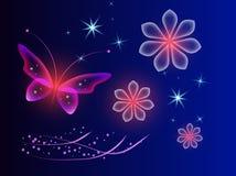 Накаляя голубая предпосылка с волшебной бабочкой Прозрачное изображение и неоновые цветки иллюстрация вектора