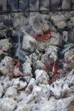 Накаляя горячий уголь готовый для варить, конец-вверх, текстура предпосылки стоковое изображение