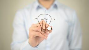 Накаляя концепция шарика, сочинительство человека на прозрачном экране Стоковая Фотография RF