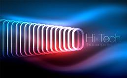 Накаляя многоточия темная предпосылка, волны и свирль, влияние неонового света, сияющие влияния волшебства вектора Стоковая Фотография RF