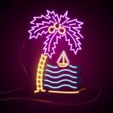 Накаляя неоновый знак влияния Пальмы и море, солнце и остров концепция ночного клуба или бара лета на темной предпосылке Стоковое Изображение RF