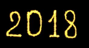Накаляя неоновый счастливый помечать буквами Нового Года 2018 написанный с fla огня Стоковые Фотографии RF