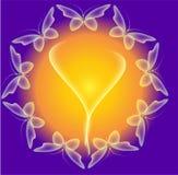 Накаляя предпосылка с волшебными бабочками и сверкная звездами Шаблон для вводить ваш текст Стоковое фото RF