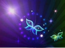 Накаляя предпосылка с волшебными бабочками и сверкная звездами Стоковые Изображения