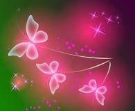 Накаляя предпосылка с волшебными бабочками и сверкная звездами Стоковое фото RF
