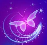 Накаляя предпосылка с волшебными бабочками и сверкная звездами Стоковые Изображения RF