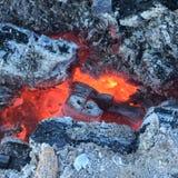 Накаляя тлеющие угли золы и древесины Стоковое Фото