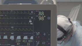 Накапайте с монитором ECG в комнате деятельности, не исправленном цвете, хорошей для сортировать цвета акции видеоматериалы