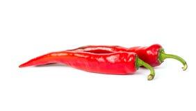 Накаленный докрасна перец chili изолированный на белой предпосылке Стоковая Фотография