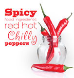 Накаленный докрасна перец chili 4 на белой предпосылке Стоковые Изображения