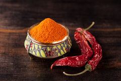 Накаленный докрасна порошок перца и паприки chili стоковая фотография rf