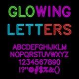 Накаляя алфавит/неоновый шрифт зарева бесплатная иллюстрация