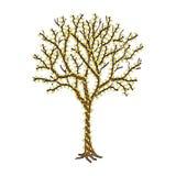 Накаляя внешнее дерево украшенное с светом гирлянды Стоковое Изображение RF