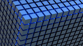 Накаляя голубая предпосылка кубов Стоковые Фотографии RF