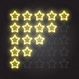 Накаляя желтый классифицировать звезд неоновых свет 5 Стоковая Фотография RF